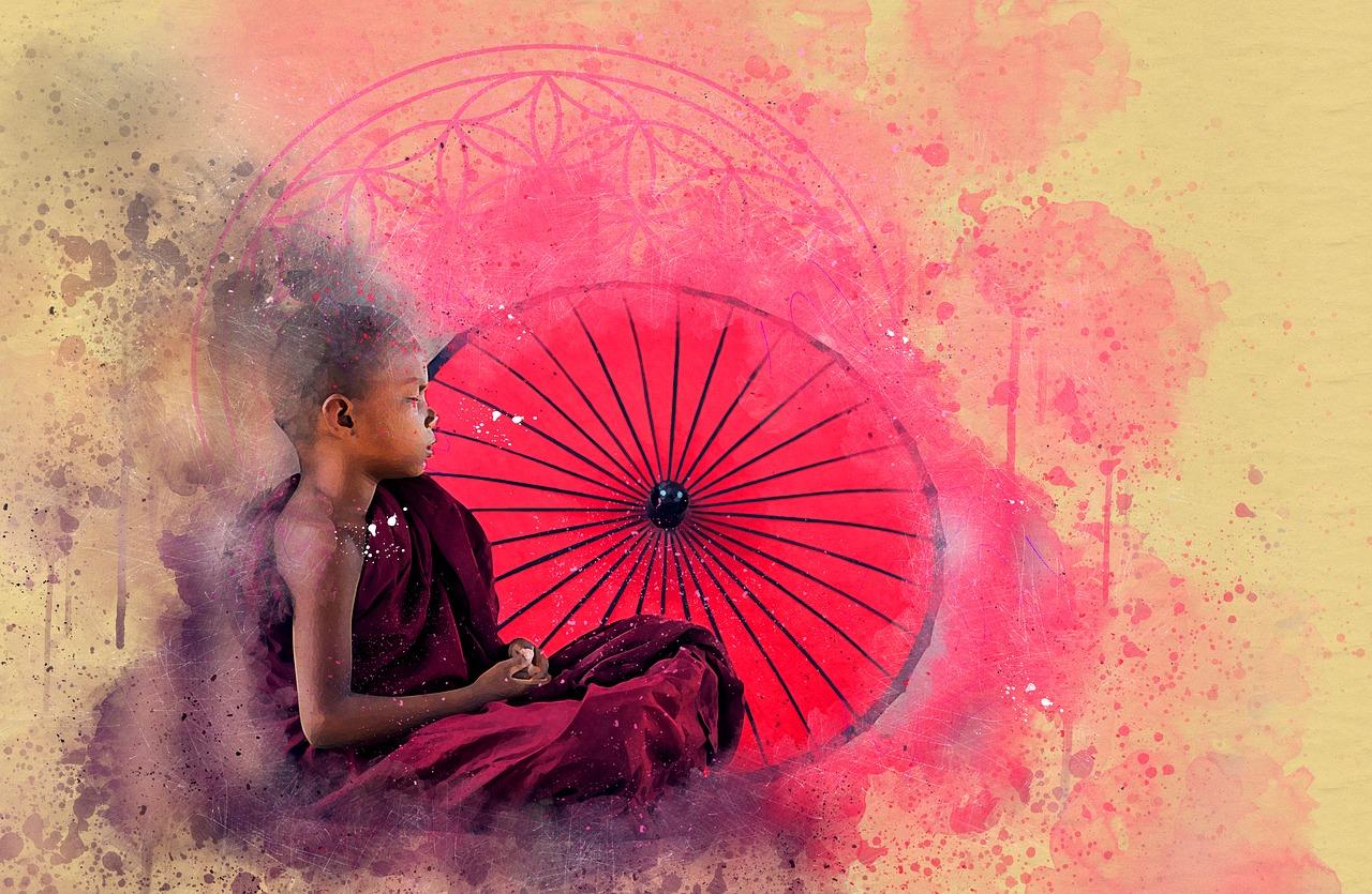 symbole fleur de vie avec bouddha
